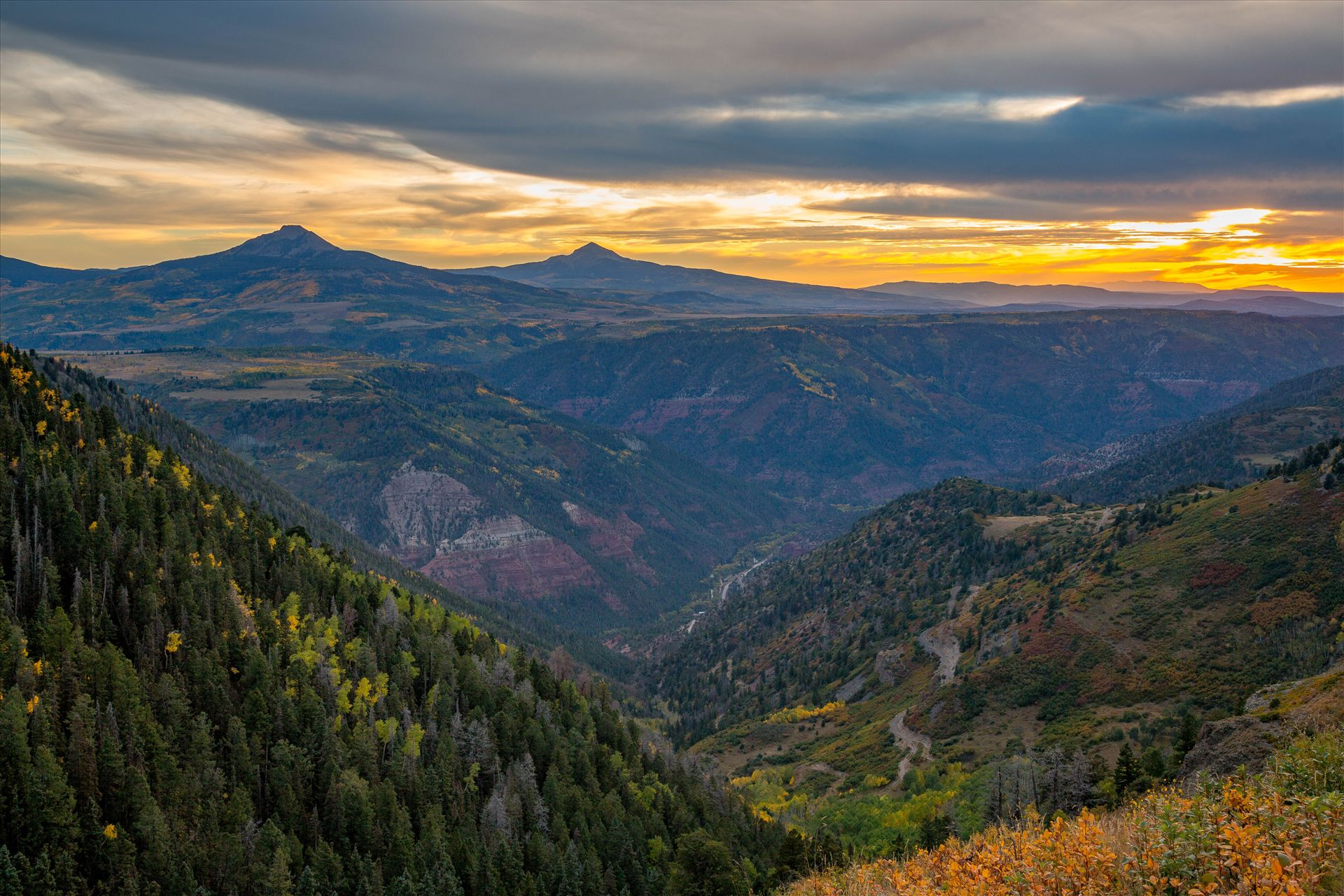 Last Dollar Road Sunset 2 - The sun has almost faded on a quiet, secluded spot from Last Dollar Road, outside of Telluride, Colorado in the fall. by Scott Smith Photos