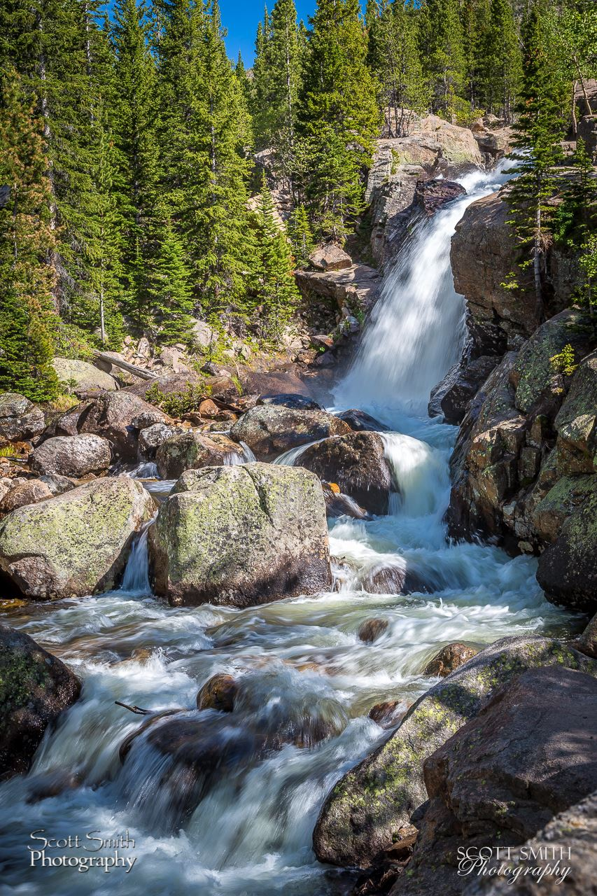 Alberta Falls - Another view of Alberta Falls in Rocky Mountain National Park, with more attention to the turbulent water below. by Scott Smith Photos