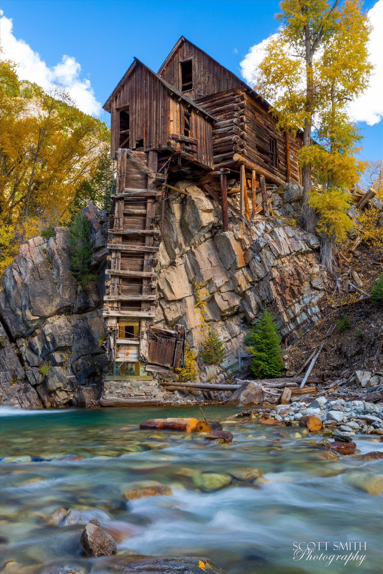 Crystal Mill, Colorado 09 - The Crystal Mill, or the Old Mill is an 1892 wooden powerhouse located on an outcrop above the Crystal River in Crystal, Colorado by Scott Smith Photos