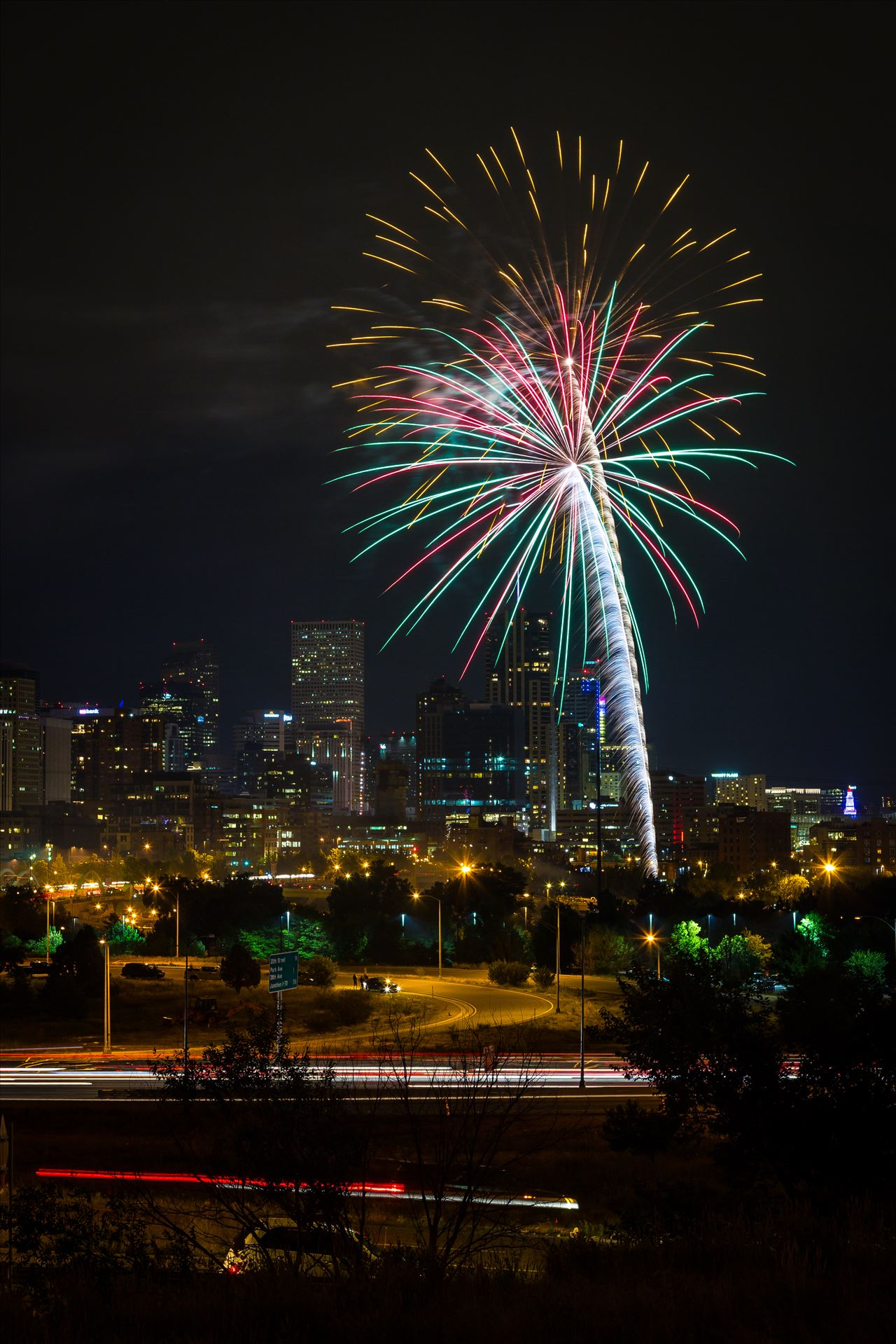 Elitch's Fireworks 2016 - 7 - Fireworks from Elitch Gardens, taken near Speer and Zuni in Denver, Colorado. by Scott Smith Photos