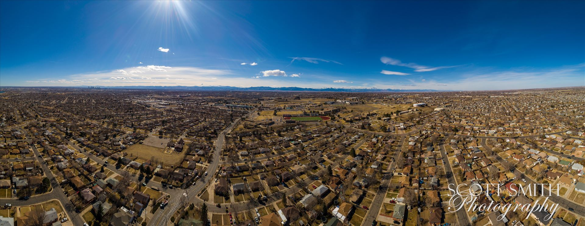 Panoramic aerial shot of Thornton, Colorado - A panoramic aerial photo of Thornton, Colorado, made up of 21 separate photos. by Scott Smith Photos