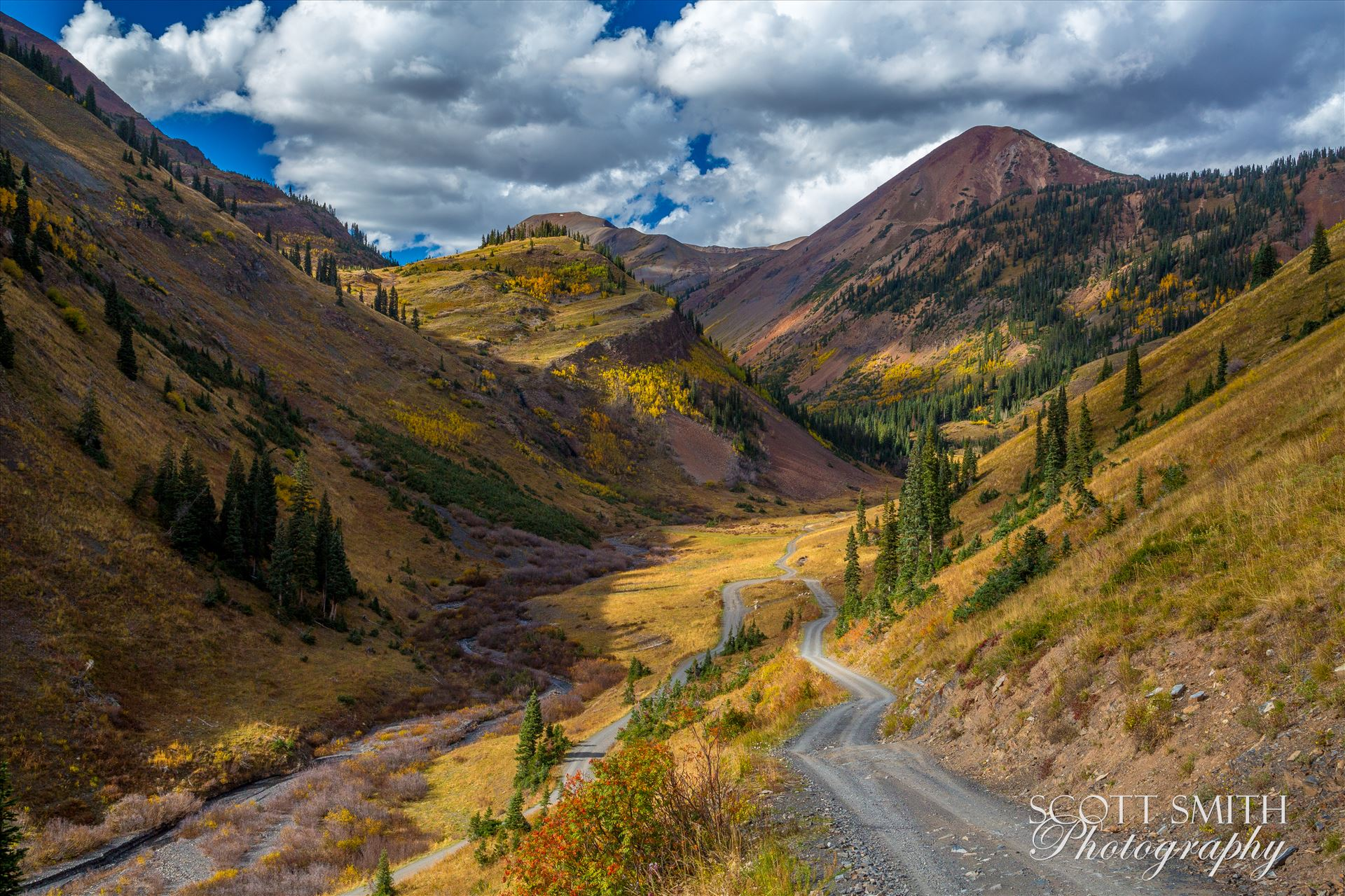 Mount Baldy from Washington Gulch - Mount Baldy, the reddish colored mountain the background, from Washington Gulch. Just outside of Crested Butte, Colorado on Schofield Pass. by Scott Smith Photos