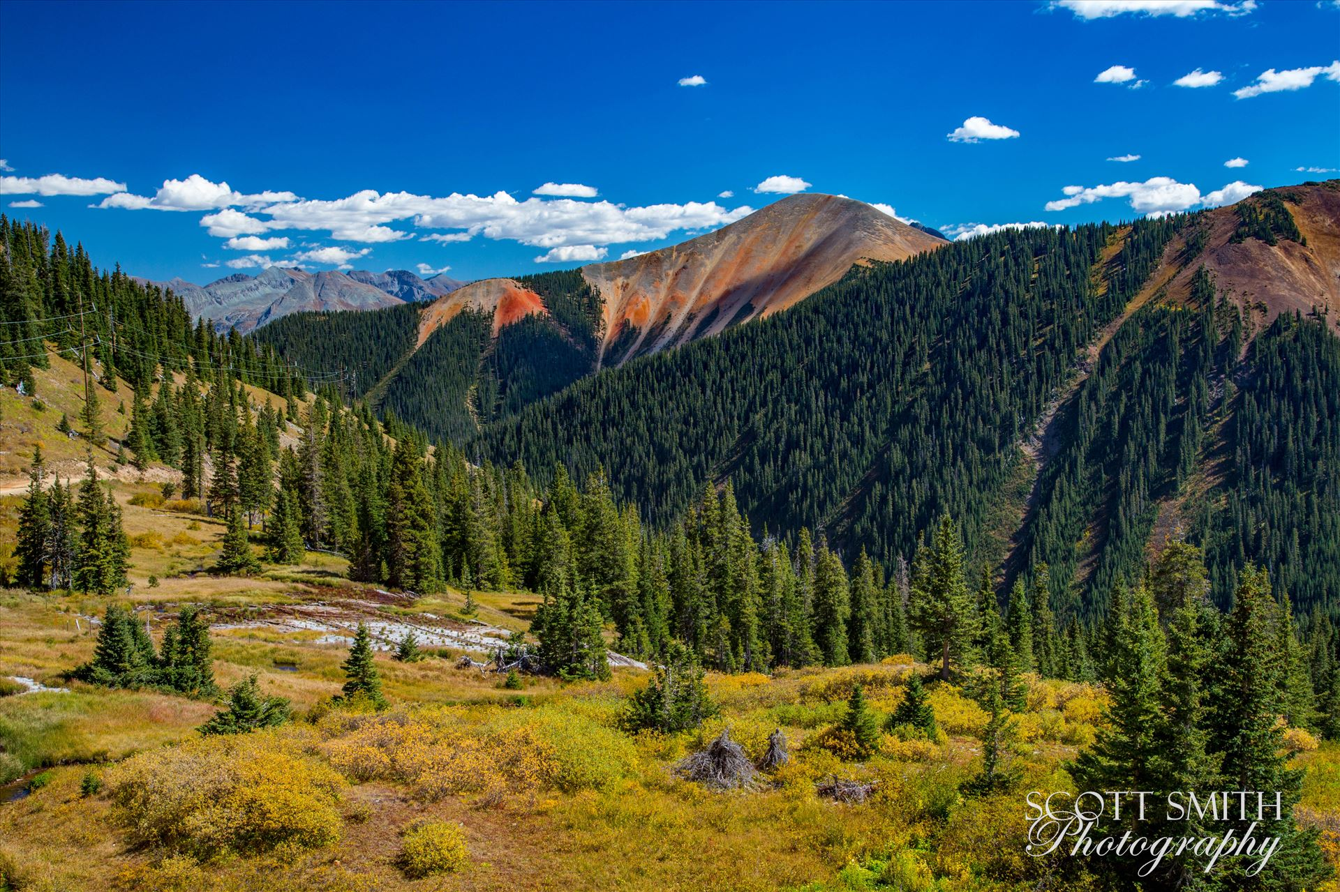 Ophir Pass 5 - Ophir Pass, featuring one of the red mountains, between Ouray and Silverton Colorado in the fall. by Scott Smith Photos