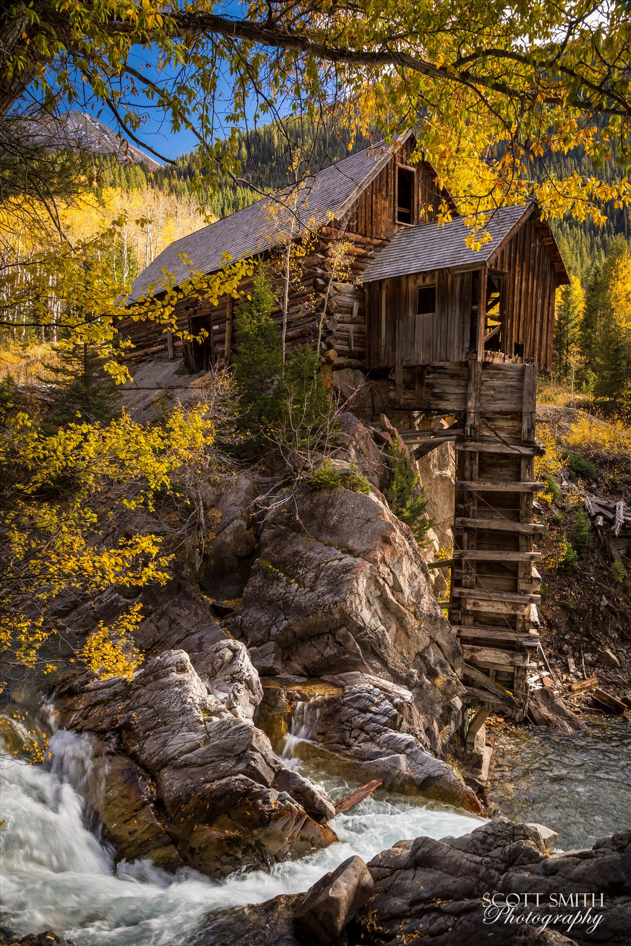 Crystal Mill No 2 - The Crystal Mill, or the Old Mill is an 1892 wooden powerhouse located on an outcrop above the Crystal River in Crystal, Colorado by Scott Smith Photos
