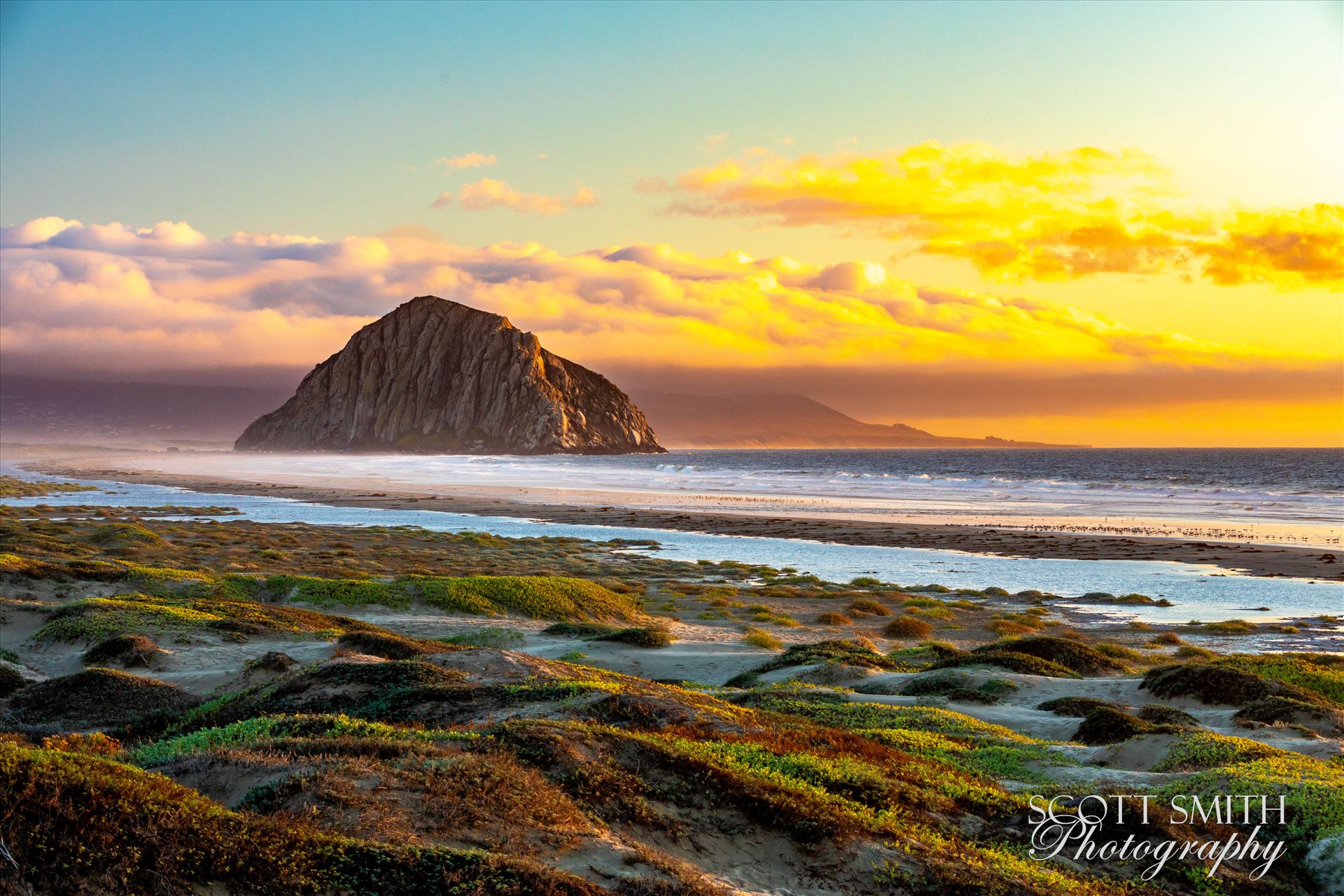 Morro Bay at Sunset - Morro Rock, in Morro Bay at sunset. by Scott Smith Photos