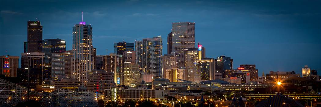 The Denver skyline as seen from Mile High Stadium.