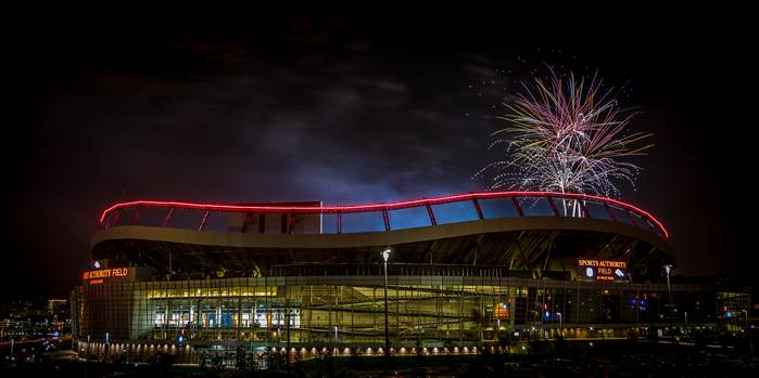 Fireworks over Mile High Stadium in Denver, Colorado on the Fourth of July.