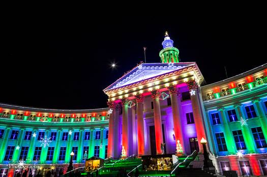 The Denver County Courthouse at Christmas, Denver CO.