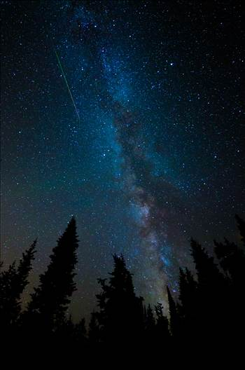 A lone meteorite streaks through the sky near the Milky Way, at the Brainard Lake State Recreation Area near Ward, Colorado.