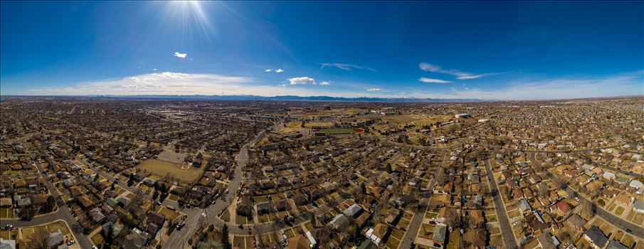 A panoramic aerial photo of Thornton, Colorado, made up of 21 separate photos.