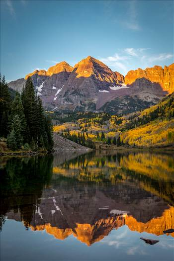 The Maroon Bells reflected in Maroon Lake. Taken September, 2014.