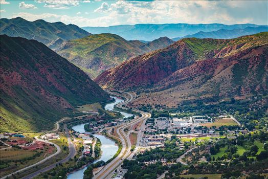 Landscape version of the view from the top of Glenwood Caverns, the city of Glenwood Springs, Colorado looks miniature.