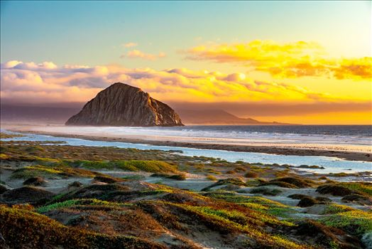 Morro Rock, in Morro Bay at sunset.